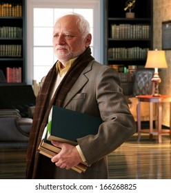 Elderly professor with books leaving library room.