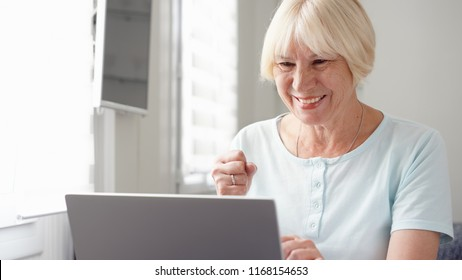 Elderly senior blond woman working on laptop computer at home. Received good news excited and happy. Remote freelance work on retirement, active modern lifestyle of older people. Success concept
