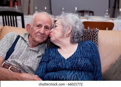 Elderly senior couple lifestyle in an affectionate pose.