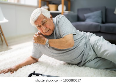 Elderly Senior Man Slip And Fall. Fallen Old Person - Shutterstock ID 1800880357