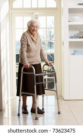Elderly Senior Woman Using Walking Frame