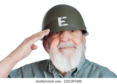 elderly soldier veteran saluting
