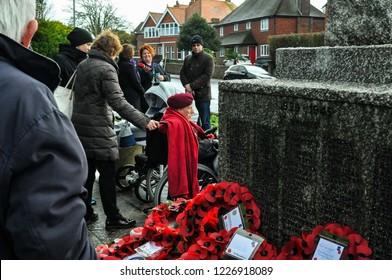 Elderly Visitor to War Memorial Seaford East Sussex UK November 11 2018