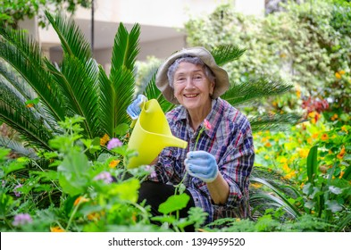 Elderly woman in a bucket hat and plaid shirt posing with yellow watering can in her garden at the backyard. She is surrounded by flowers and plants. There is a house in the background out of focus.