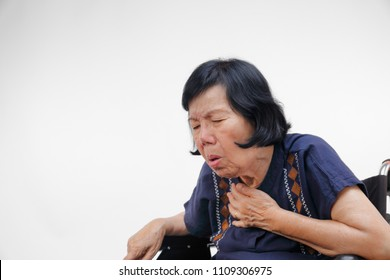 elderly woman cough ,choke ,isolated on white background
