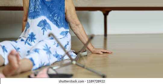 Elderly woman falling down at home ,hearth attack.
