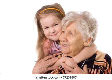 The elderly woman with grand daughter