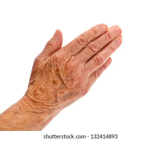 Elderly woman hand on an isolated background