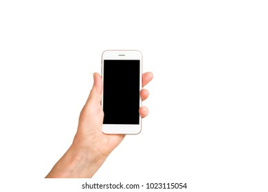 Elderly woman, hands holding blank screen cell phone gadget. Old lady wrinkled arms, clearly visible veins & freckles, smartphone. Isolated white background, close up, overhead, copy space, close up.