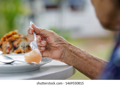 elderly woman have breakfast in backyard