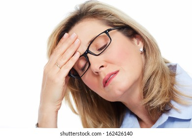 Elderly Woman having a headache. Stress and depression.