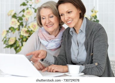 An elderly woman with her daughter working at the computer