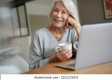 Elderly woman at home with computer