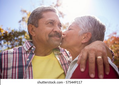 An elderly woman kissing his husband in the park