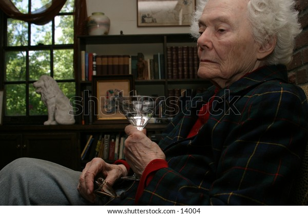 elderly woman with martini