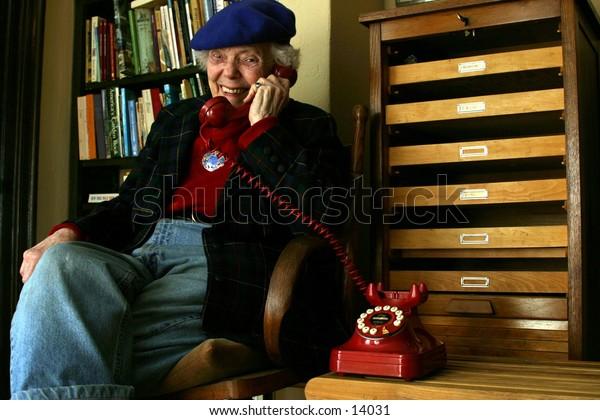 elderly woman on phone