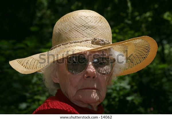 elderly woman outdoors