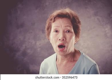 Elderly woman, panic