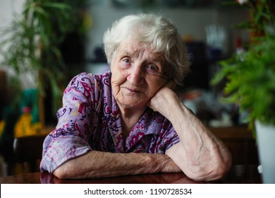 Elderly woman pensioner in the room portrait.