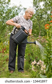 The elderly woman pours water on flowers in the garden in summer day