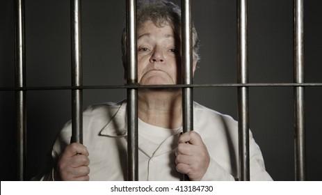 Elderly woman in prison
