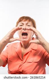 elderly woman screams