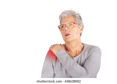 elderly woman with shoulder pain close up