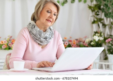 An elderly woman uses a computer