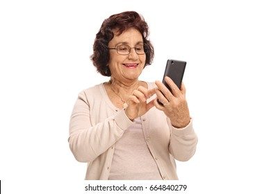 Elderly woman using a phone and smiling isolated on white background