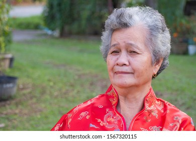 Elderly woman wear Cheongsam traditional red dress, standing and smile in the garden. Chinese old woman in red costume New Year celebration. Chinese new year concept. Space for text