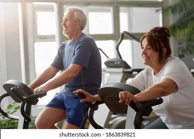 Elderly woman working out in modern gym. Senior caucasian woman using using bike for cardio workout at cross training gym.