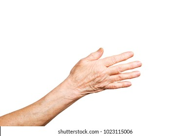 Elderly woman, wrinkled hand palm w/ clearly visible veins reaching out forward. Old lady arms, freckles. Isolated white background, close up, overhead, copy space.