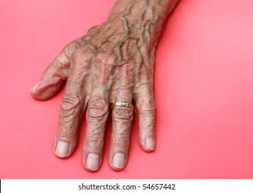elderly womans wrinkled old hand