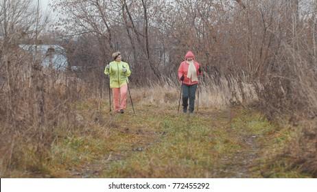 Elderly women in autumn park doing warm up before nordic walking