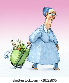 an elderly women comes back from shopping with a trolley with her puppy inside