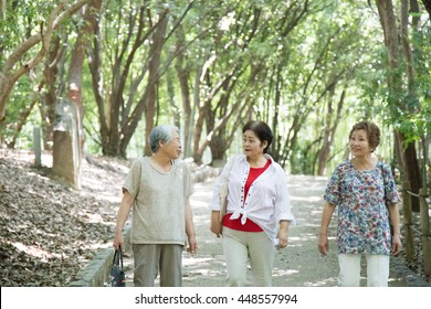 Elderly women who are walking in the nature