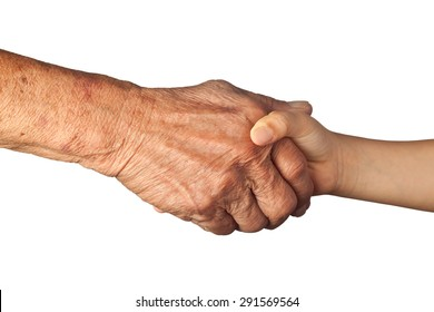 Elderly and young handshake isolated on white background