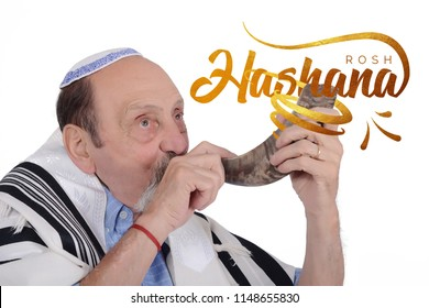 Eldery jewish man blowing the Shofar horn for the Jewish New Year holiday (Rosh Hashanah). Religion concept. Isolated white background