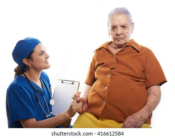 eldery woman on health check with doctor isolated on white
