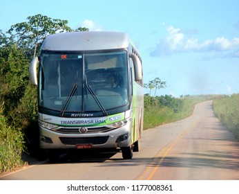 Eldorado dos Carajas/Para/Brazil - May 05, 2013: Bus of the Transbrasiliana company that carries passengers between the cities of Belem and Parauapebas, in the state of Para.