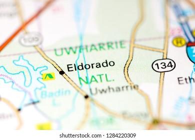 Eldorado. North Carolina. USA on a map