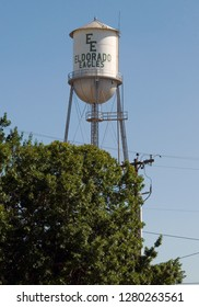 Eldorado, Texas / USA - July 29 2010: Multi-Column Elevated Water Tower painted with the name of the high school mascot.