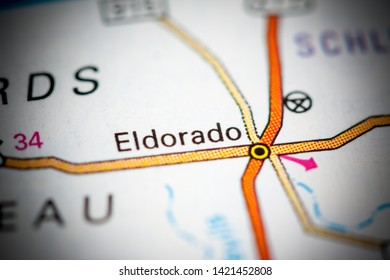 Eldorado. Texas. USA on a map