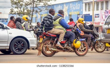 Eldoret, Kenya 4 12 2018: Motorcycle business in the streets of Kenyan cities in Africa.