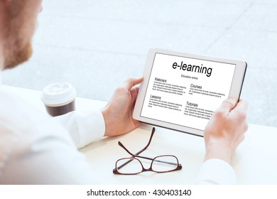 e-learning, business education online, hands with tablet