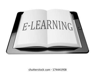 E-learning with ebook in digital tablet computer, mobile reading concept
