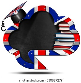 E-Learning English - Uk Speech Bubble / Blackboard speech bubble in the shape of a cloud with English flag, a stack of books and a graduation hat. Isolated on white background