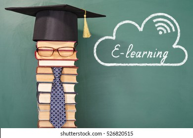E-Learning funny education concept with unusual man teacher