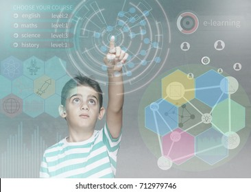E-learning and futuristic education technology concept with little school boy using digital hud interface and icons. (Image with mixed digital effects)