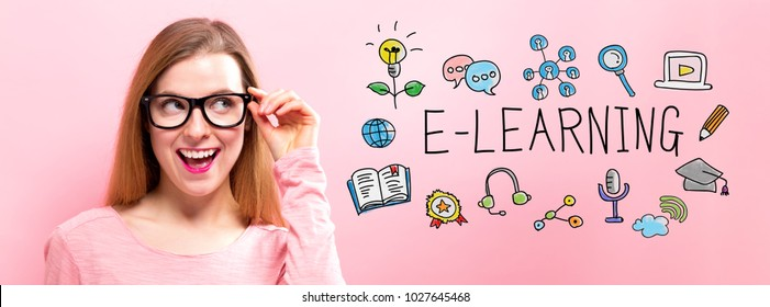 E-Learning with happy young woman holding her glasses